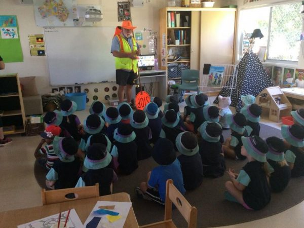 Children listening to Road Safety talk